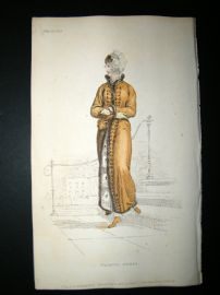 Ackermann 1811 Hand Col Regency Fashion Print. Walking Dress 6-28
